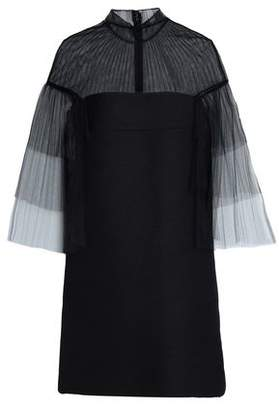 Valentino Pleated Tulle And Twill Mini Dress