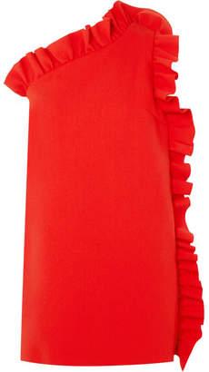 MSGM One-shoulder Ruffled Crepe Mini Dress - Red