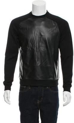 Prada Leather-Paneled Crew Neck Sweatshirt