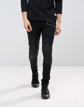 Asos Super Skinny Jeans In Washed Black Mixed Biker With Rips