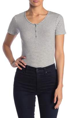Ten Sixty Sherman Striped Ribbed Henley Short Sleeve Bodysuit