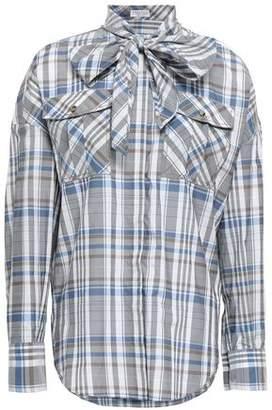 Brunello Cucinelli Cutout Checked Cotton-blend Shirt