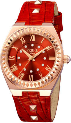 Ferré Milano Women's 36mm Stainless Steel Spike Watch with Leather Strap, Rose/Red
