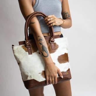 MAHI Leather Brown And White Pony Hair Florence Tote Handbag