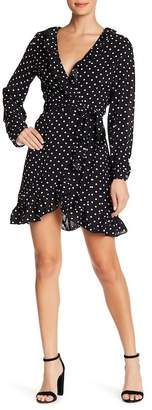 Lucca Couture Ruffled Long Sleeve Polkadot Mini Dress