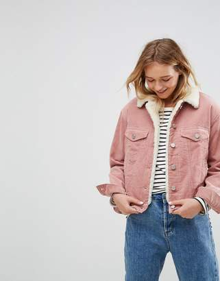 Asos Cord Jacket With Borg Collar In Washed Pink