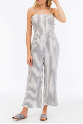 Olivaceous Gray Stripe Jumpsuit