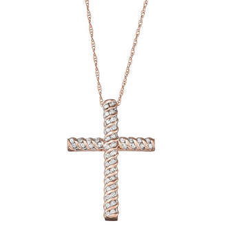FINE JEWELRY Religious Jewelry Womens 1/4 CT. T.W. Genuine White Diamond 10K Rose Gold Cross Pendant Necklace