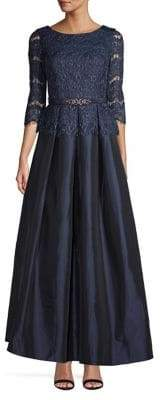 Eliza J Belted Lace Ball Gown