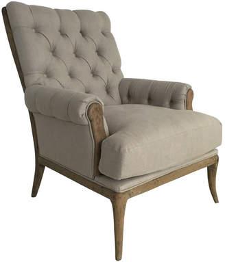 BEIGE Global Gatherings Linen & Oak Button Tufted Armchair