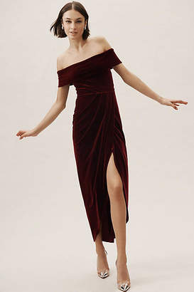BHLDN Edison Velvet Wedding Guest Dress