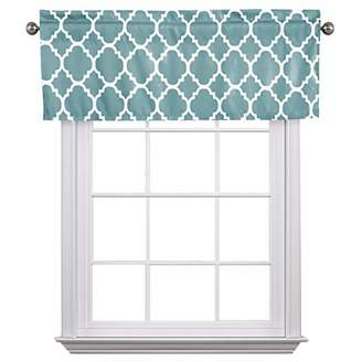 """Flamingo P Moroccan Grayish Blue Valance Curtain Extra Wide and Short Window Treatment for for Kitchen Living Dining Room Bathroom Kids Girl Baby Nursery Bedroom 52"""" X18"""""""