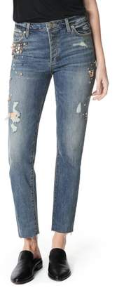 Joe's Jeans Smith Embellished High Waist Raw Hem Ankle Boyfriend Jeans