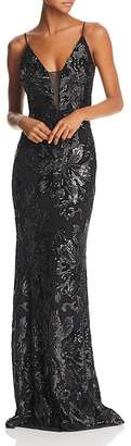 Avery G Sequined Column Gown