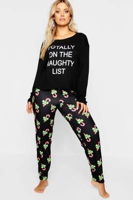 boohoo Plus Christmas 'Naughty List' Pyjama Set
