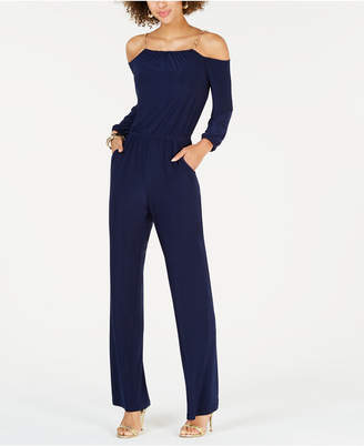 NY Collection Petite Cold-Shoulder Chain-Trim Jumpsuit