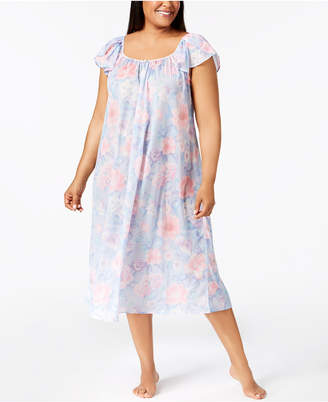 Miss Elaine Plus Size Printed Knit Long Nightgown