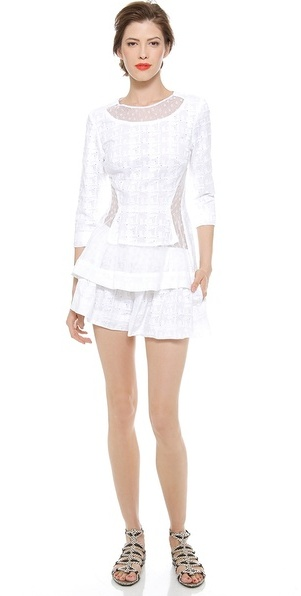 Thakoon Lace Inset 3/4 Sleeve Top