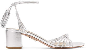 Aquazzura Mescal 50 Metallic Leather Sandals