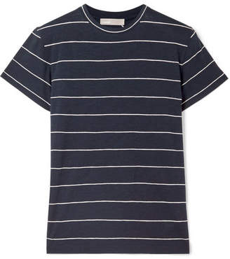 Vince Striped Pima Cotton-jersey T-shirt - Navy