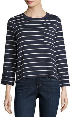 Splendid Dune Striped Lace-Back Top, Navy/White $148 thestylecure.com