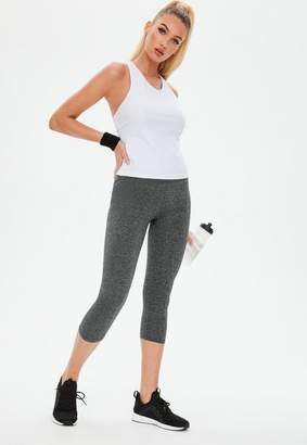 Missguided Active Gray Cropped Gym Legging
