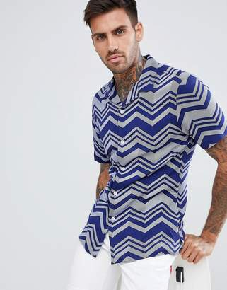 Asos DESIGN skinny viscose chevron stripe shirt in navy