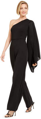 Adrianna Papell Crepe One-Shoulder Jumpsuit