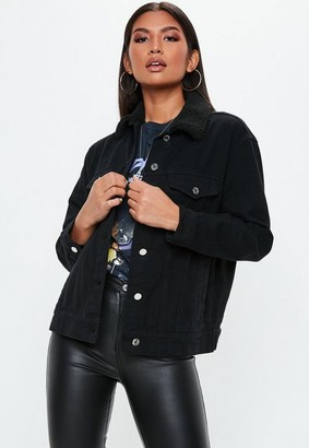 22491fea3f9 Missguided Black Oversized Teddy Faux Fur Denim Jacket