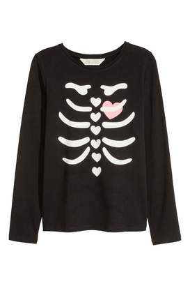 H&M Jersey Top with Printed Design - Black/skeleton - Kids