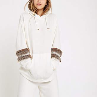 River Island Cream faux fur trim pajama hoodie