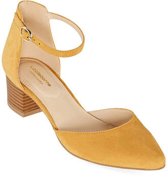 Liz Claiborne Womens Porter Strap Closed Toe Block Heel Pumps