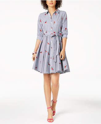 Betsey Johnson Embroidered Striped Belted Shirtdress