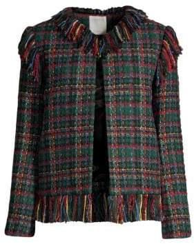 Sandro Fringed Tweed Check Jacket