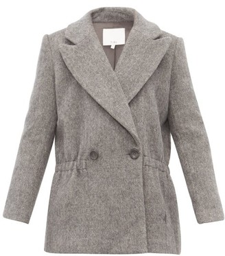 Tibi Double Breasted Brushed Wool Blend Jacket - Womens - Grey