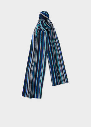 Paul Smith Men's Blue Signature Stripe Textured Scarf