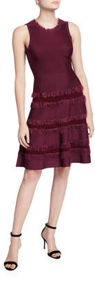 Milly Sleeveless Fringe-Trim Fit-&-Flow Dress