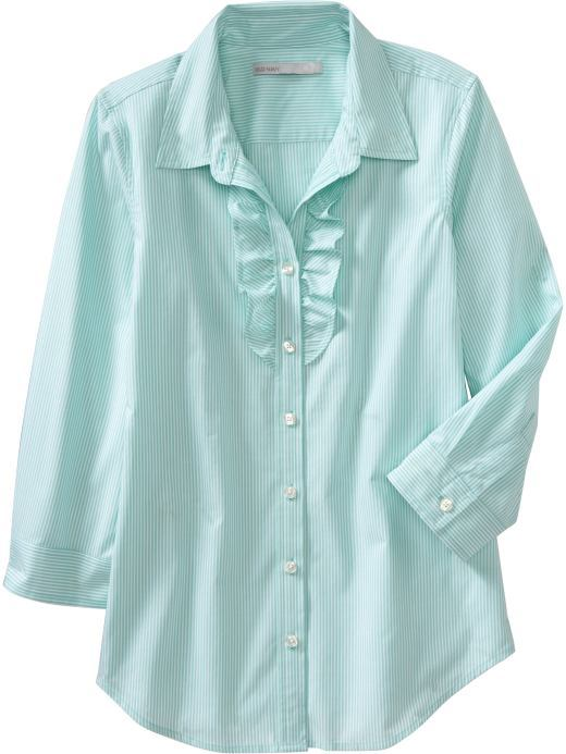 Women's Striped Ruffle-Placket Shirts