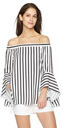 Off Shoulder High Low Bell Sleeve Print Woven Blouse
