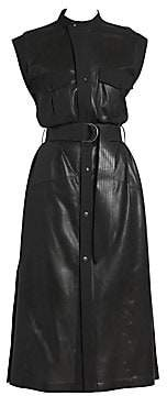 Givenchy Women's Leather Sleeveless Belted Midi Dress
