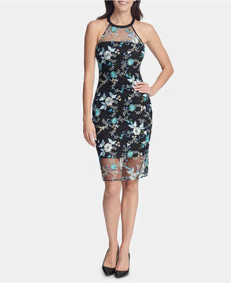 GUESS Embroidered Halter-Neck Dress