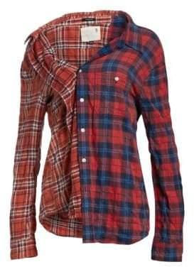 R 13 Contrast Plaid Shirt