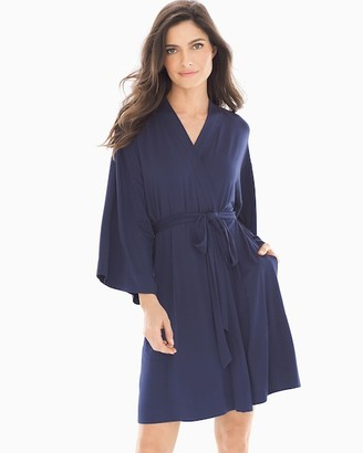 Cool Nights Kimono Sleeve Short Robe Navy