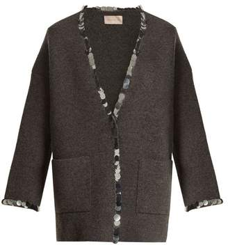 Christopher Kane Sequin Embellished V Neck Wool Blend Knit Cardigan - Womens - Grey