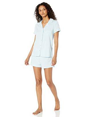 Splendid Women's Bridal Rayon Sleeve Top and Short Classic Pajama Set,L