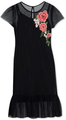 Rare Editions Big Girls Floral Appliqué Mesh Dress