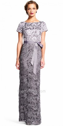 Adrianna Papell Short Sleeve Lace Column Evening Dress $289 thestylecure.com