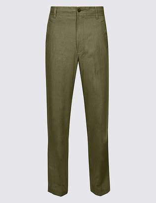 Marks and Spencer Regular Fit Linen Rich Trousers