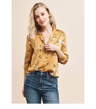Dynamite Satin Long Sleeve Blouse NARCISSUS FLORAL
