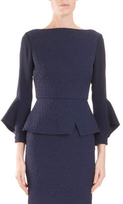 Roland Mouret Richardson High-Neck 3/4-Sleeve Peplum Jacquard Top